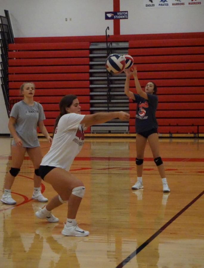 The+girls+volleyball+team+practices+leading+up+to+the+regular+season+that+began+Sept.+3.