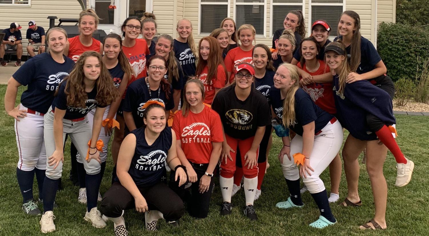 Varsity and Jv come together in a team bonding experience for dinner at a teammates house the night before everyone's first game.
