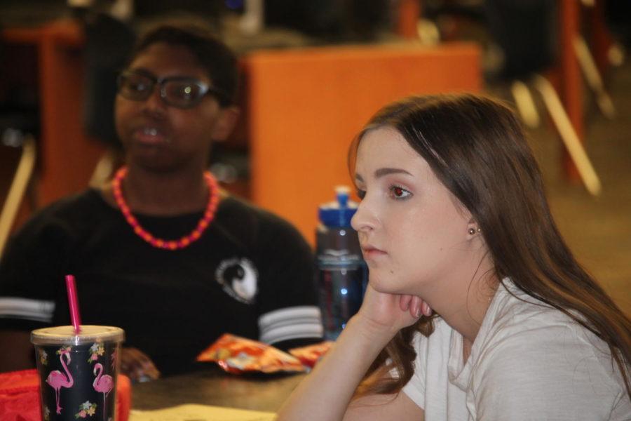 Sophomores Amanda Yoder and Arti Franklin tentatively listen to Mrs.Gehrke's presentation.