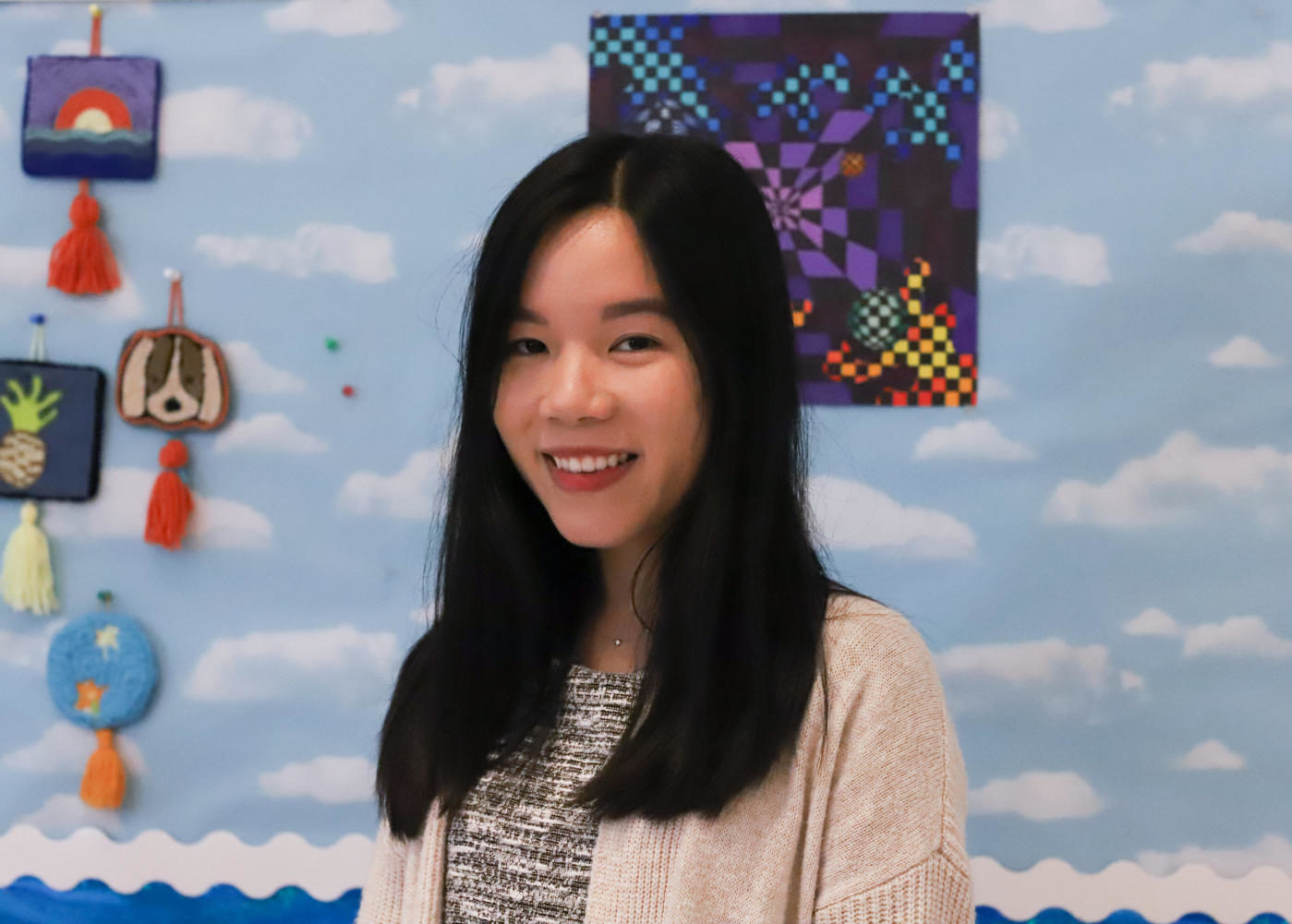 Art teacher Ms. Vo extends her knowledge of English and kindness through the school.