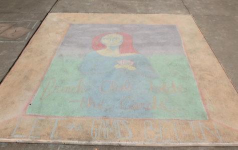 French Club's beautiful chalk masterpiece of the Mona Lisa.