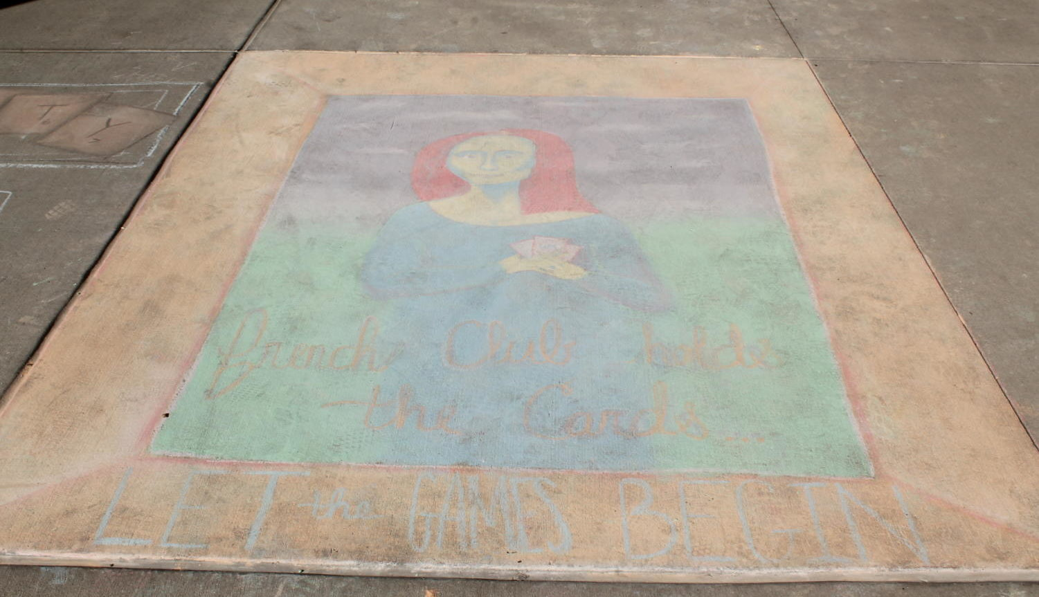French Club's beautiful chalk masterpiece of the Mona Lisa.