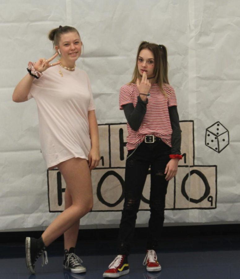 The ultimate battle of our generation: vsco girls vs e-girls. Madeline Tiemann (vsco) and Haley Stinson (e) dressed up for meme day, Tuesday Oct. 8.