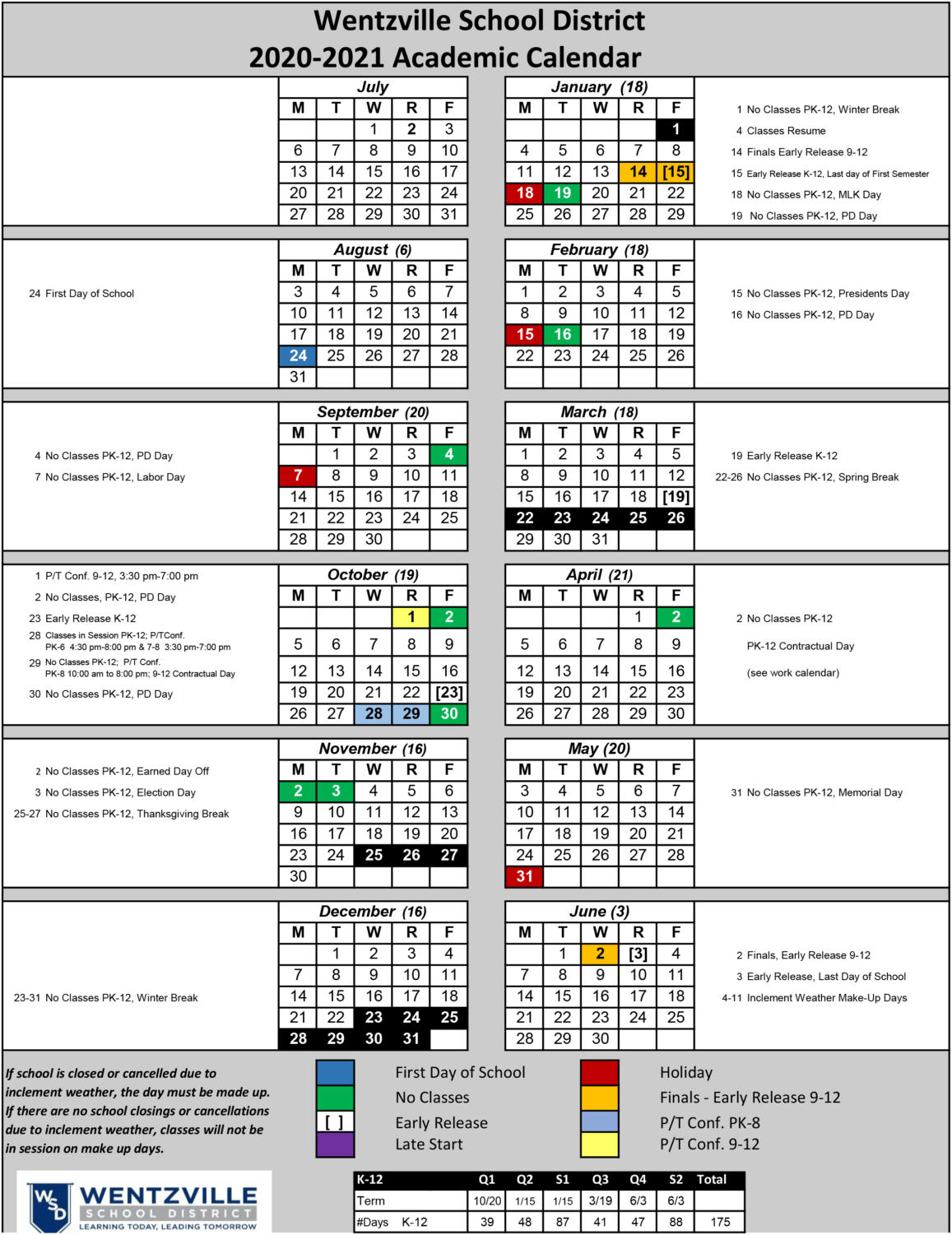 The 2020-2021 Wentzville School District academic calendar revision. The first day of school will be on Aug. 24.