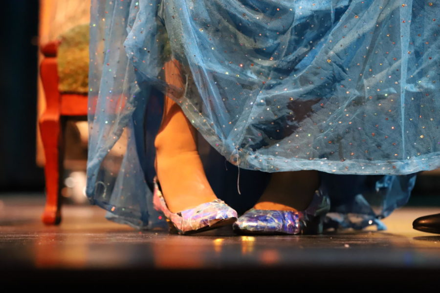 Costumes crew created Cinderella's iconic glass slippers.