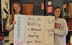 Dance team captains Hailey Forck and Aimee Weber promote their shoe drive fundraiser to get the dance team to Nationals.
