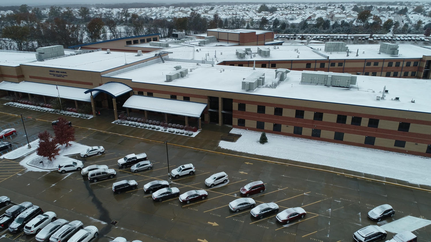 The first snowfall of the school year took place Monday, Nov. 11. Poor road conditions led to the district calling for a snow day on Tuesday.