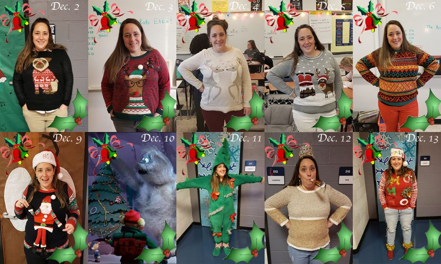 Mrs.+T-O+wore+a+fun+and+funky+Christmas+sweater+every+day+of+December+until+winter+break.+On+Dec.+10%2C+Mrs.+T-O+was+out+so+Bumble%2C+the+abominable+snowman+from+Rudolph%2C+is+shown+on+that+day+for+her+father+who+used+to+imitate+Bumble+as+a+kid+to+make+her+laugh.