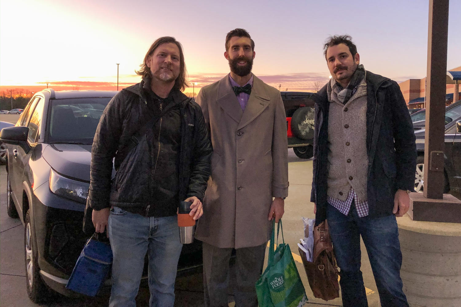The triumvirate - Mr. Weis, Mr. Hendricks and Mr. Stoll - gather for a photo after their commute to Liberty.