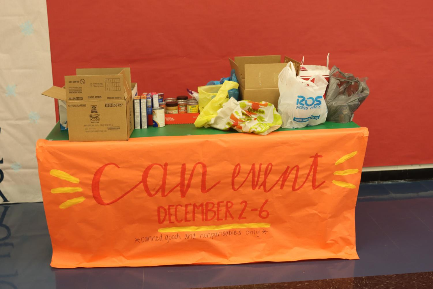 FCCLA had a canned food drive table near the front lobby where students and staff could make donations.