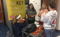 Key Club members count up money for there annual Trick or Treat for UNICEF project.