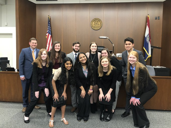 The mock trial team  competed in two rounds at the St. Louis County Courthouse against Jefferson City and Lutheran South in early 2020.