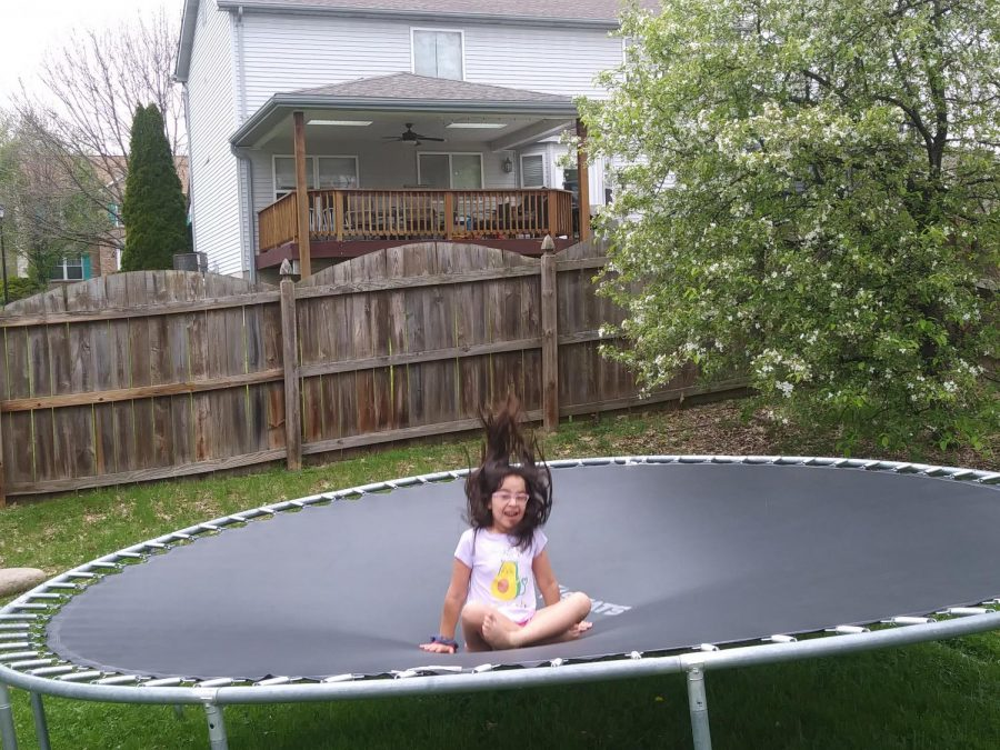 My little sister has been showing me how to do new trampoline tricks