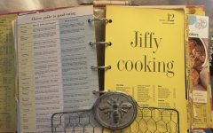 My mom's old cookbook filled with recipes.
