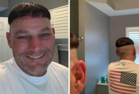 "Todd Ferring after he got the ""coronabowl"" haircut to support fundraising efforts."