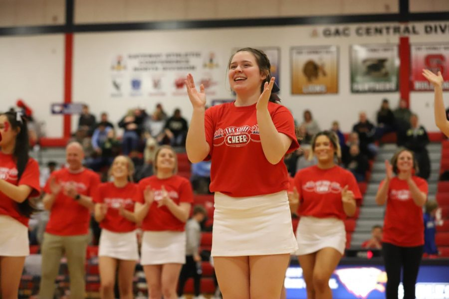 Coyle cheering at Red Night.