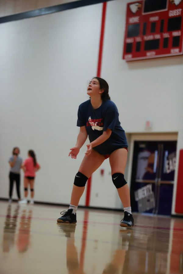 Ally Schniepp (11) attends volleyball's first practice since the school year began.