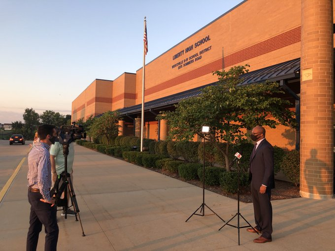 Dr. Cain is interviewed by KSDK before the first day of school Monday morning.
