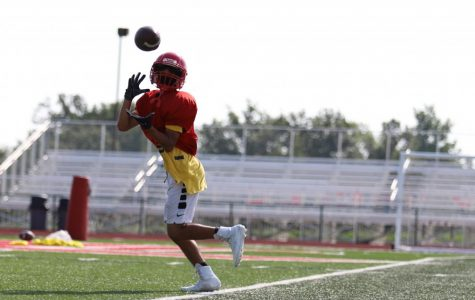 Wide receiver Kamron Bastean perfects his routes at a practice earlier this season. The Eagles open their season Friday against Warrenton.