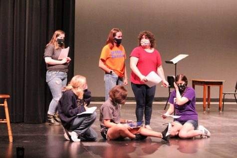 "Ms. Gehrke and members of the one act ""Anne-Arky"" rehearse their lines at a recent practice."