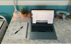 Sophia Whalley's desk is set up for a day of online learning.