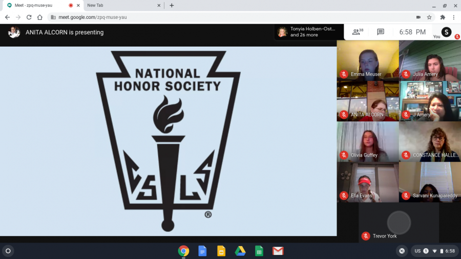 A screenshot from the National Honor's Society virtual induction ceremony.