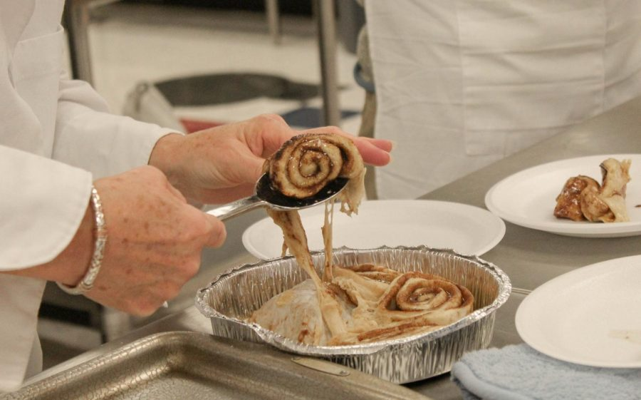 Mrs. Pizzo's Culinary Arts class makes sweet treats, such as cookies & cinnamon rolls.