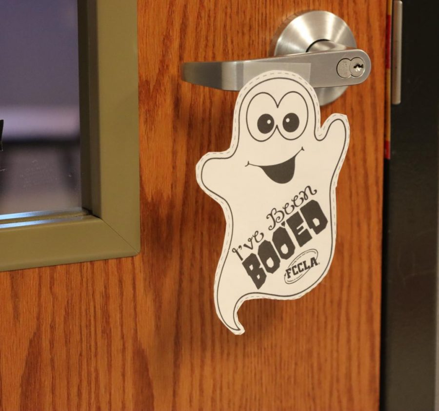 """FCCLA is giving teachers that have been """"BOO-ed"""" a ghost to hang outside their classroom."""