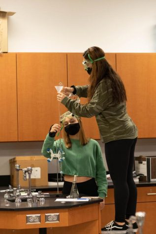 Students conduct a titration lab in Mrs. Beierman