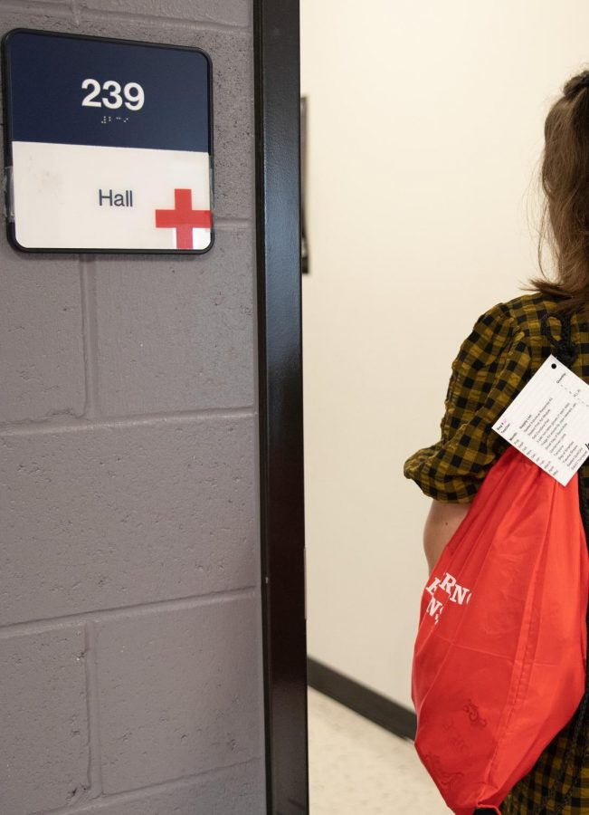 The crosses accompany bags full of medical supplies in case of emergency.