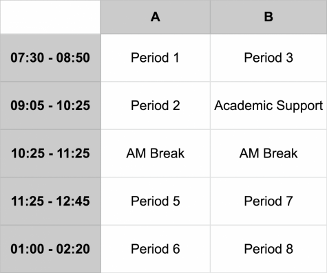 This schedule will take effect on Monday, 11/12.