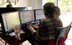 Erin Vosbrink and her boyfriend, Jared Beard both work for Chubb Insurance. They share the dining room table for their work space until they are able to go back to the office.