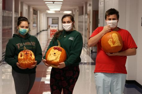 Congratulations to the winners of the 2020 pumpkin carving contest. 1st place: Andrew Taylor (right) 2nd place: Amanda Speciale (middle) 3rd place: Kiley Lang (left)