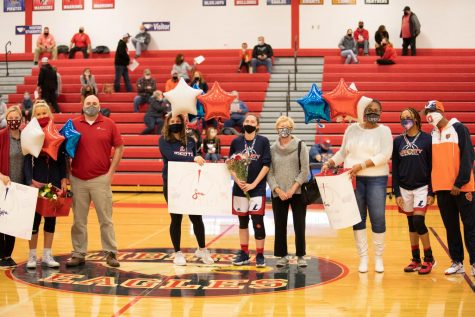 Toni Patterson, Sara Gordley, and Alyssa Frey are the three seniors on the varsity girls basketball team. They were recognized on Senior Night on Dec. 8 in a 49-47 against Winfield.