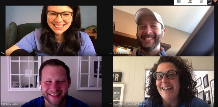 Director of Technology Greg Lawrence and Instructional Technology Coaches Amanda Moody, Samantha Hardesty Knoll, and Mike McCann, discuss plans for the 2020-2021 school year over a Google Meet.
