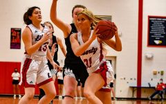 Hailey Jolliff drives past a Orchard Farm defender on her way to the basket, while Ally Schneipp kicks.