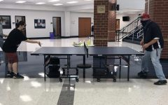Drew Woodworth plays ping pong with Mr. Wheeler on Tuesday, the day that ping pong came back to Liberty.