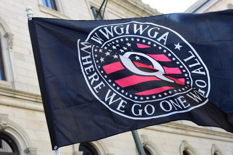 A QAnon flag flown at the infamous capitol riot on Jan. 6, 2021.