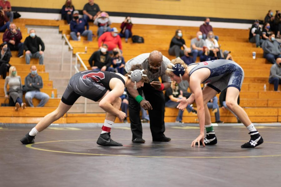 Lukas Aubuchon prepares the go head-to-head with his opponent in a match earlier this season.