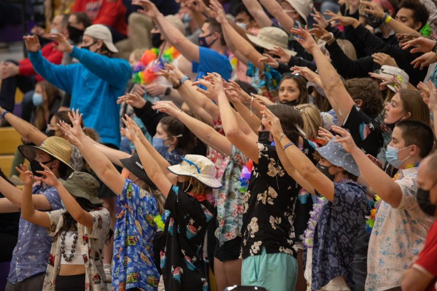 The student section goes wild as they cheer on the Eagles basketball team.