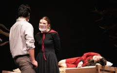 Abigail Williams (Brooke Huffman) attempts to seduce John Proctor (Aadi Kadam).