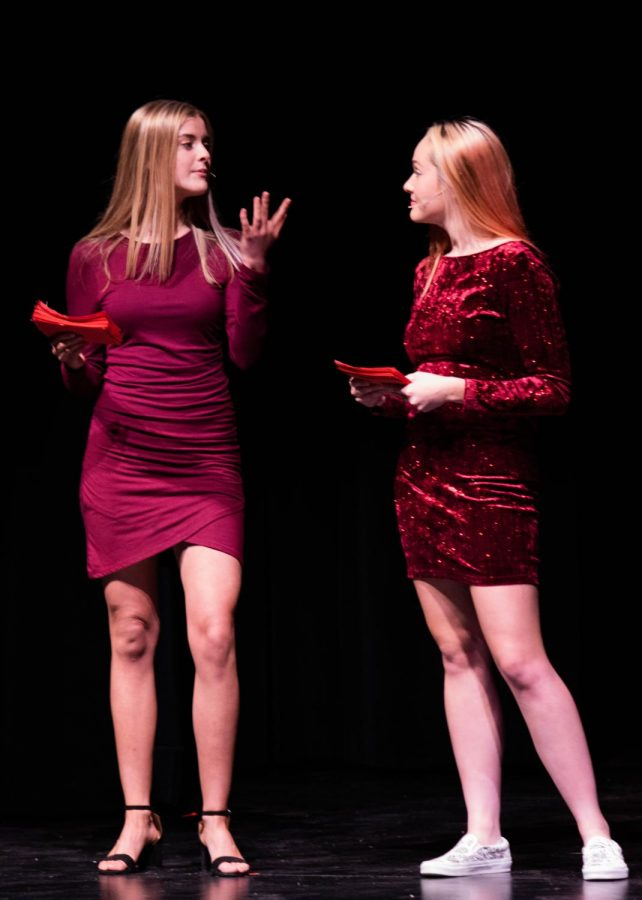 Hosts, Kelly Karre (12) and Anna Decker (12) introduce the contestants.