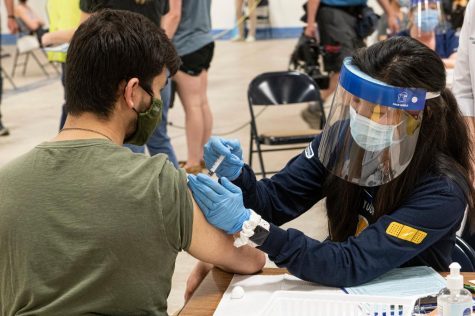 A Kent State University student getting his Johnson & Johnson vaccination in Kent, Ohio, last week.