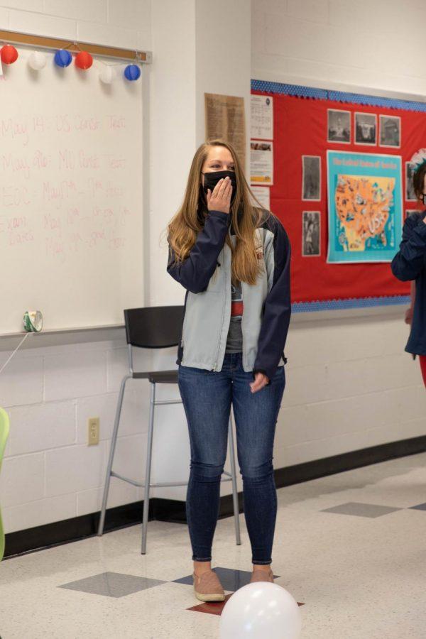 Student Council surprises Ms. Holmes with a surprise bridal shower.
