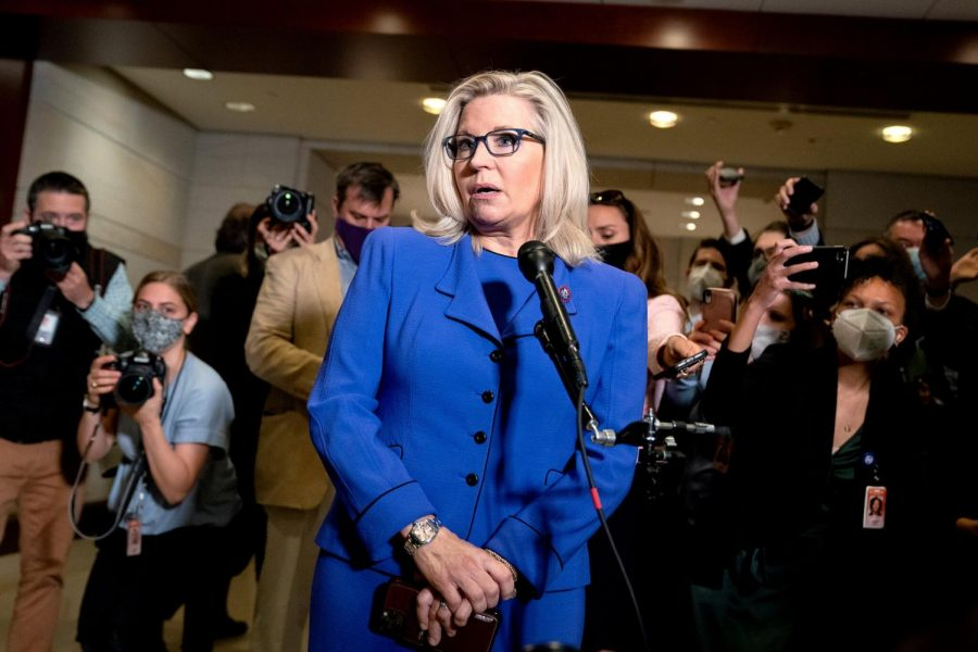 Representative Liz Cheney after a Republican vote to remove her from party leadership.