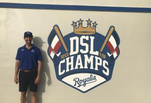 Mr. Hendricks stands in front of the team's clubhouse. They won the Dominican Summer League in 2019 and they're the reigning champs since last season was cancelled.