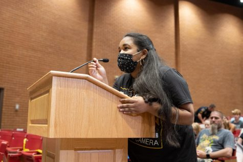Sruthi Ramesh (12) gives a speech to the Board of Education about district COVID-19 policy.