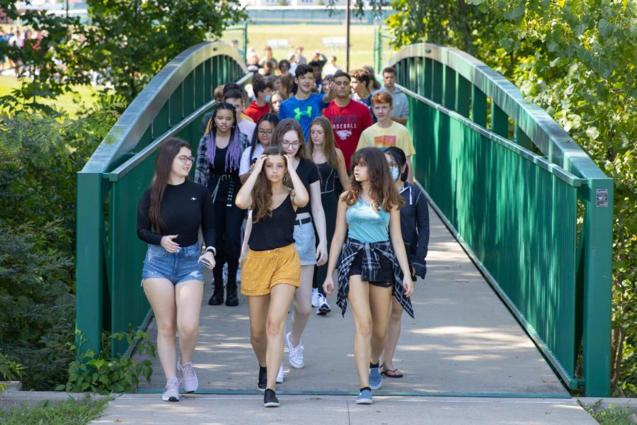 Sophomores make their way across the bridge, to make up for the bridge walk that they didnt have their freshman year.