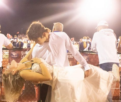 Fiona Flynn and her partner Gilbert Sobieski at the whiteout football game.