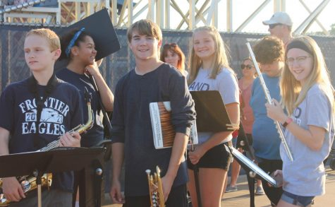 Frontiers 8th-grade band students at the 9/17 home game against Fort Zumwalt South.